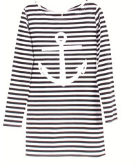 Lesara Damen-Longshirt mit Anker-Motiv - Weiß - XL