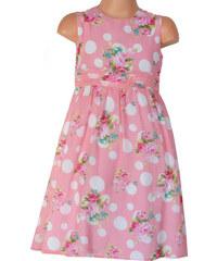 Topo Dívčí květované šaty s puntíky - růžové
