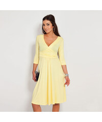 Lesara Knielanges Kleid mit V-Ausschnitt - Gelb - XL
