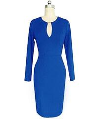 Lesara Kleid mit elegantem Ausschnitt - Dunkelblau - XL