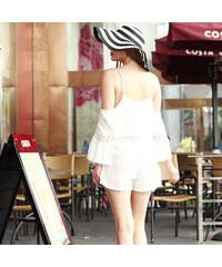 Lesara Jumpsuit mit Cut-Out-Ärmeln - Weiß - XL