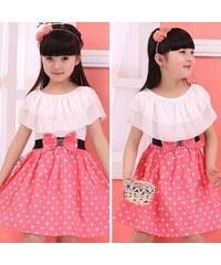 Lesara Kleid mit Punkten - Weiß-Pink - 98-104