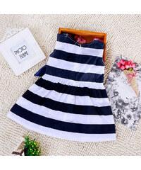 Lesara Kleid mit Streifen - Weiß-Blau - 110-116