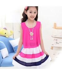 Lesara Mädchen-Kleid im Lagen-Look - Pink - 122-128