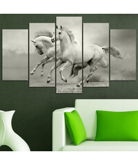 Lesara 5-teiliges Wandbild Pferde - Pferd