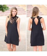 Lesara Kleid mit Spitzen-Ausschnitt - Schwarz - L