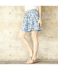 Lesara Kurzer Hosenrock mit Blumen-Print - Blau - S