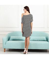 Lesara One-Shoulder-Kleid mit Muster - Schwarz-Weiß - S