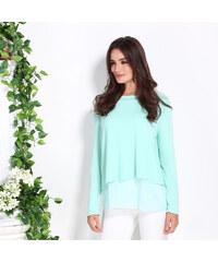 Lesara 2-lagiges Damen-Langarmshirt mit Chiffon - Mint - XL