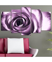 Lesara 5-teiliges Wandbild Rosen - Blütenkopf Violett