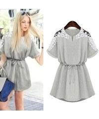 Lesara Kleid mit Spitzen-Details - Grau - XS
