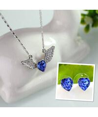 Lesara 2-teiliges Herzschmuck-Set mit Swarovski-Elements - Blau