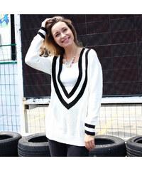 Lesara Strickpullover mit tiefem V-Ausschnitt - Weiß - S
