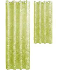 Lesara Ösenvorhang mit Blatt-Muster - Grün - Längliche Form