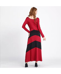 Lesara Maxikleid mit Streifen-Muster - Schwarz-Rot - M