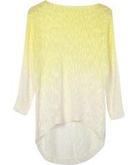 Lesara Langer Pullover mit Farbverlauf - Weiß-Gelb - S