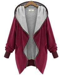 Lesara Jersey-Jacke mit Kapuze - Bordeaux - XS