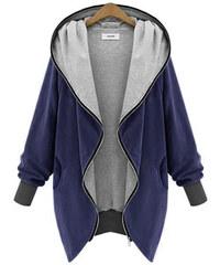 Lesara Jersey-Jacke mit Kapuze - Blau-Grau - XS