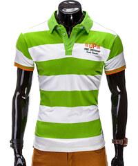 Lesara Gestreiftes Polo-Shirt Zweifarbig - Grün - M