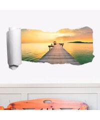 Lesara 3D-Tapeten-Sticker Strand - Steg Sonnenaufgang