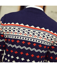 Re-Verse Pullover mit Jacquard-Muster - Dunkelblau - S