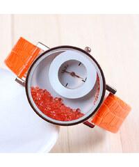 Lesara Armbanduhr mit Schmucksteinen - Orange