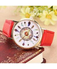 Lesara Armbanduhr mit Feder-Motiven - Rot