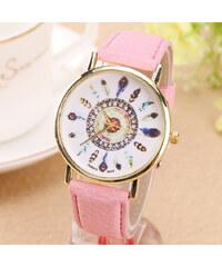 Lesara Armbanduhr mit Feder-Motiven - Pink