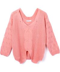 Lesara Strick-Pullover mit weitem V-Ausschnitt - Pink - S