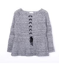 Lesara Strick-Pullover mit Schnürung - Grau - S