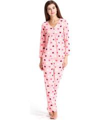 Lesara Pyjama mit Herzchen-Muster - Rosé - M