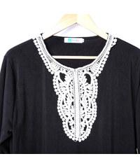 Lesara Kleid mit Spitzen-Details - Schwarz - XL