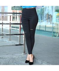 Lesara High Waist-Skinny-Hose mit Cut-Outs - Schwarz - S