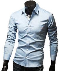 Re-Verse Klassisches Hemd mit Brusttasche - Hellblau - S