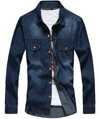 Maritimi Jeans-Hemd mit zwei Brusttaschen - Dunkelblau - S