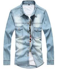 Maritimi Jeans-Hemd mit zwei Brusttaschen - Hellblau - S