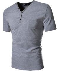 Re-Verse T-Shirt mit Knopfleiste - Grau - S