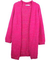 Lesara Langer Cardigan mit Punkte-Muster - Pink - S