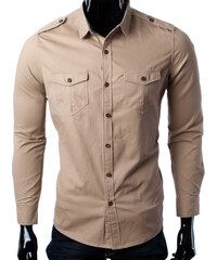 Re-Verse Hemd im Military-Look - Beige - S