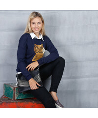 Lesara Sweatshirt mit Eulen-Print - Blau - S