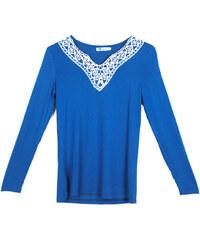 Lesara Langarmshirt mit Häkeldetails - Blau - S