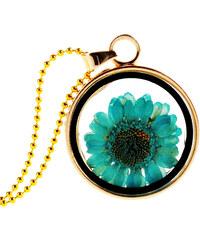 Lesara Halskette mit getrockneten Blüten - Blau