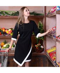 Lesara Kleid mit asymmetrischem Saum - Schwarz - L