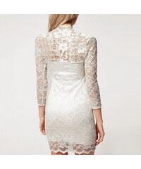 Lesara Spitzen-Kleid mit 3/4-Ärmel - Weiß - S