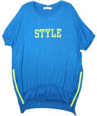 Lesara Longshirt mit Print & Reißverschlüssen - Blau - S