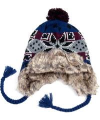Lesara Bommel-Mütze mit Kunstfell - Blau