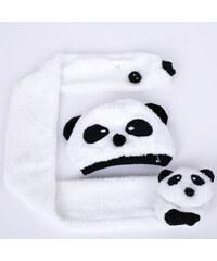 Lesara 2-teiliges Set Kinder-Mütze und Schal Panda - Weiß