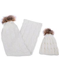 Lesara 2-teiliges Set Bommel-Mütze und Schal - Weiß