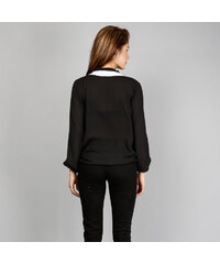 Lesara Chiffon-Bluse im überkreuzten Design - Schwarz - S
