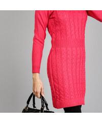 Lesara Unifarbenes Strickkleid mit Zopfmuster - Pink - L